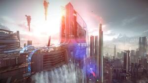 City Render Killzone Killzone Shadow Fall Science Fiction Cityscape Futuristic Waterfall Killzone 4551x2560 Wallpaper