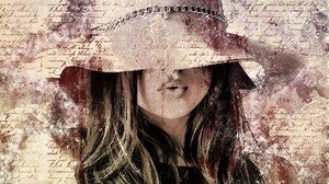 Artistic Drawing Girl Hat Postcard Woman 6000x4000 Wallpaper