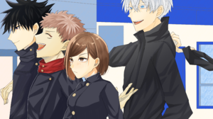 Yuji Itadori Nobara Kugisaki Megumi Fushiguro Boy Girl School Uniform Brown Hair Black Hair Brown Ey 3688x2480 Wallpaper
