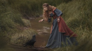 Women Model Outdoors Women Outdoors Fantasy Girl Birds Animals Water Dress Raven 2500x1668 Wallpaper