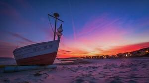 Beach Boat Cloud Sand Sky Sunset 1920x1200 Wallpaper