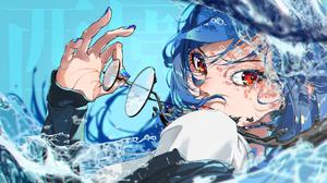 Anime Anime Girls Nijisanji Virtual Youtuber Red Eyes Glasses Blue Nails Blue Hair Water Splash Look 1920x1080 Wallpaper