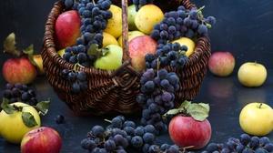 Apple Basket Fruit Grapes Still Life 6000x4000 Wallpaper
