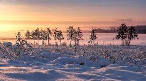 Snow Sunrise Landscape 2048x1152 Wallpaper