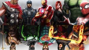 Avengers Justice League Marvel Comics Dc Comics Thor Captain America Iron Man Black Widow Spider Man 3840x2528 wallpaper
