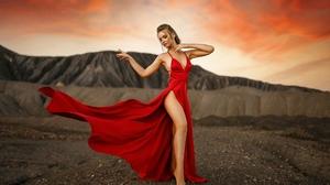 Women Red Dress Women Outdoors Blonde Sky Clouds Armpits 2000x1333 Wallpaper