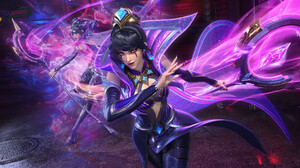 Shuliang Liu CGi Clones Dark Hair Makeup Weapon Staff Women Spell Pink Eyes Pink Fantasy Art LeBlanc 3840x2157 wallpaper