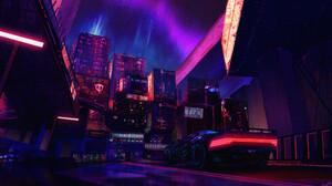 Lindsey Wailes Fan Art Cyberpunk Video Game Art Car City Bridge Digital Art Video Games Cyberpunk 20 3840x2217 Wallpaper