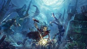 Blue Hair Dagger Sword Underwater Warrior Woman Warrior 2200x1200 Wallpaper