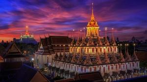 Light Thailand Bangkok Wat Ratchanatdaram 1920x1080 wallpaper