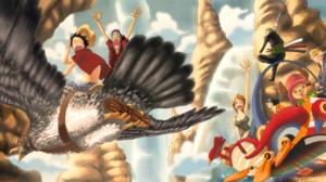 Anime Flying Monkey D Luffy Nami One Piece Nico Robin One Piece Pirate Roronoa Zoro Sanji One Piece  2500x1121 Wallpaper