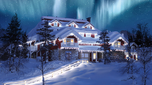 Holiday Christmas House Mansion Light Tree Sky Aurora Borealis Starry Sky Stars 2516x1887 Wallpaper