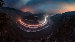 Nature Night Winter River 2048x1183 wallpaper