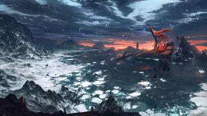 Max Suleimanov Digital Art Landscape Winter Snow Water Sunset Sunrise 1920x1080 wallpaper