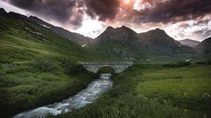 Bridge Mountain River 2047x1397 Wallpaper