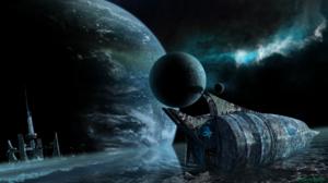 Digital Art Moon Nebula Ocean Planet Space Spaceship Stars Wave 1920x1080 Wallpaper