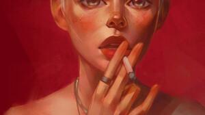 Angel Ganev Artwork Women Cigarettes Smoking Red Background Simple Background Face Portrait Short Ha 1100x1375 Wallpaper