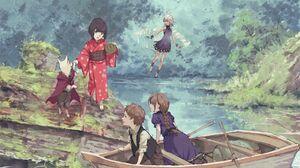 Boat Boy Fairy Fantasy Girl Kimono Nature River 2700x2000 Wallpaper