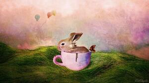 Artistic Balloon Bunny Cup Easter Grass Holiday Painting 1920x1080 Wallpaper
