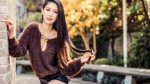 Asian Model Women Long Hair Dark Hair Depth Of Field Pullover Black Shorts Trees Bushes Wall Leaning 1920x1280 Wallpaper