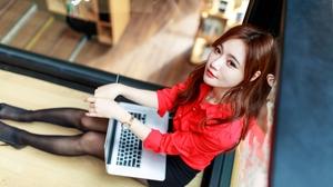 Su Xiaoli Women Model Brunette Office Girl Shirt Looking At Viewer High Angle Laptop Depth Of Field  3840x2560 Wallpaper