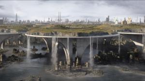 Futuristic Brutalism Waterfall Skyscraper Science Fiction Brave New World New London Landscape Scree 2880x1440 Wallpaper