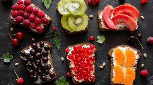 Berry Bread Fruit Still Life Toast 5472x3648 wallpaper