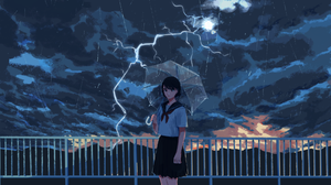 Anime Women Anime Girls Sky Dark Clouds Lightning Women Outdoors Standing Umbrella Women With Umbrel 1920x1080 Wallpaper
