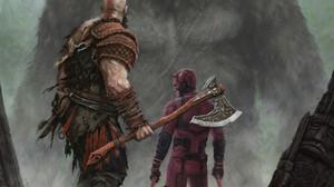 God Of War Kratos King Kong Daredevil Crossover God Of War 2018 Kong Skull Island 1920x2489 Wallpaper