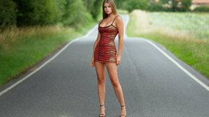 Women Model Legs Women Outdoors Black Heels Dress Road High Heels Heels Feet 4096x2731 Wallpaper