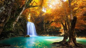 Waterfall Erawan Waterfall Thailand Forest Tree Fall Foliage Fish Pond Turquoise Tropical Nature 2048x1365 Wallpaper