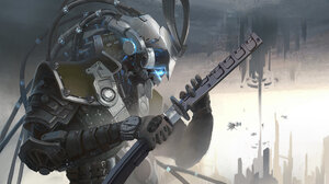 Sci Fi Warrior 1920x1080 wallpaper
