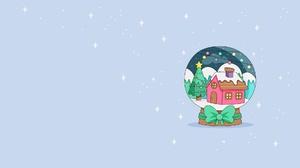 Snow Globe House Christmas Tree Christmas Stars Blue Background Simple Background Artwork Digital Ar 1920x1080 Wallpaper