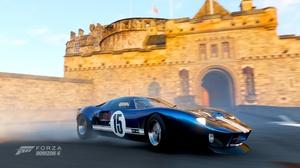 Forza Horizon 4 Depth Of Field Car Castle Edinburgh Ford Blue Cars GT40 Racing Stripes 1920x1080 wallpaper