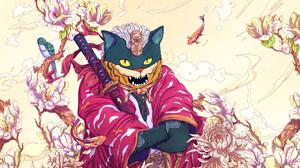 Christian Benavides Digital Art Fantasy Art Cats Katana Fish Birds Flowers Fangs Surreal Anthro 3840x2160 Wallpaper