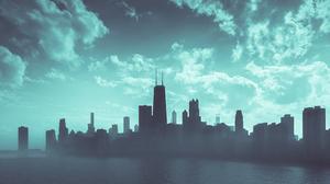 Chicago City Gothic Artwork Minimalism 3324x1870 wallpaper