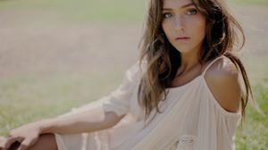 Women Model Blue Eyes Long Hair Brunette Women Outdoors Grass Nature 1800x1200 wallpaper