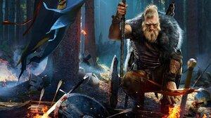 Warrior Axe Viking Beard Sword 2560x1440 Wallpaper