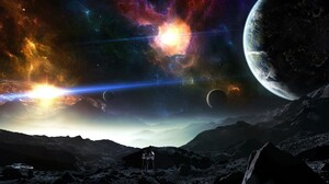 Astronaut Galaxy Moon Sun 2560x1440 wallpaper