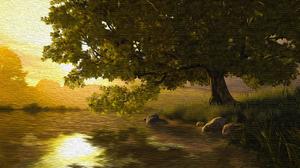 Artistic Lake Tree 3840x2160 Wallpaper
