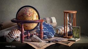 Globe Hourglass Shell 2000x1333 Wallpaper