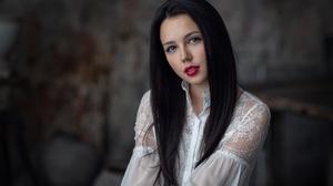 Black Hair Blue Eyes Girl Lipstick Model Woman 2048x1366 Wallpaper