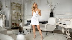 Women Blonde White Dress Women Indoors Piano High Heels Watermark Not In Corner Watermarked 1920x1280 Wallpaper