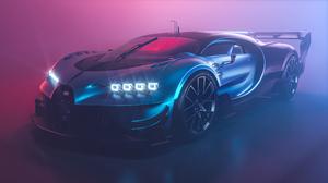Bugatti Chiron Bugatti Vision Gran Turismo Supercars Vehicle Car Low Light Blue Cars Mist 3840x2160 Wallpaper