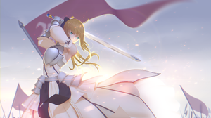 Armor Blonde Flag Green Eyes Saber Fate Series Saber Lily Sword White Dress 2586x1490 wallpaper