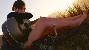 Ellie The Last Of Us Ellie Williams The Last Of Us 2 Guitar Musical Instrument Brunette Looking At V 3840x2160 Wallpaper