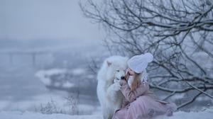 Little Girl Dog Samoyed Winter 1920x1200 Wallpaper