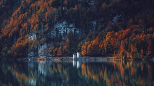 Building Forest Lake Mountain Reflection 3840x2160 Wallpaper