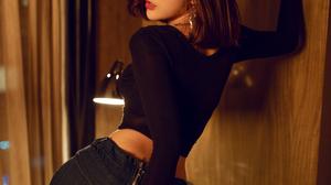 Women Model Asian Brunette Black Tops Jeans Indoors Women Indoors 2000x3000 Wallpaper