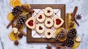 Cinnamon Cookie Pine Cone Still Life 4178x2780 Wallpaper